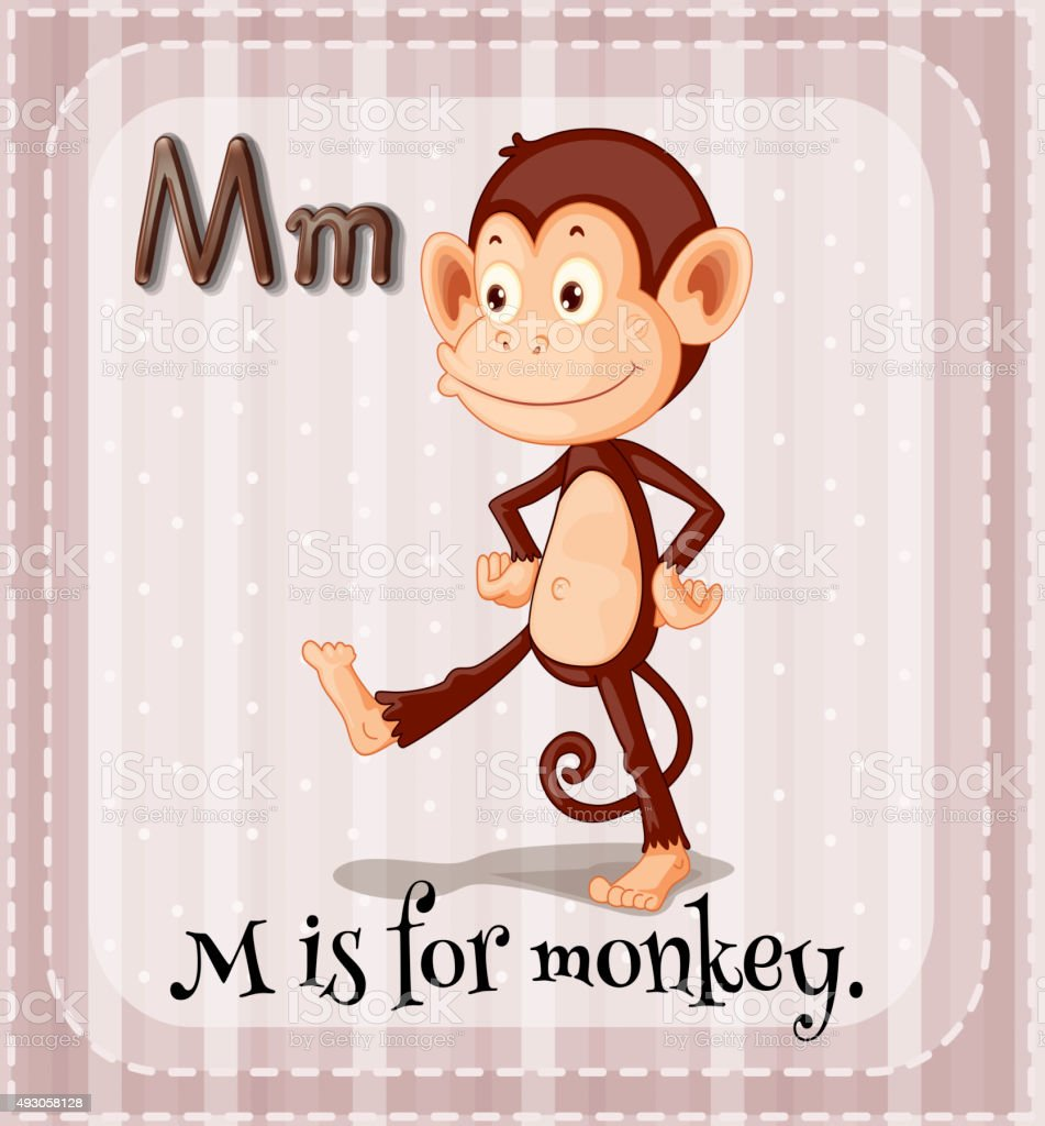 Flashcard M  monkey vector art illustration