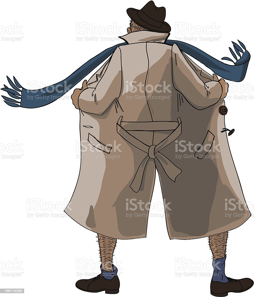 Flasher unbuttoned coat royalty-free stock vector art