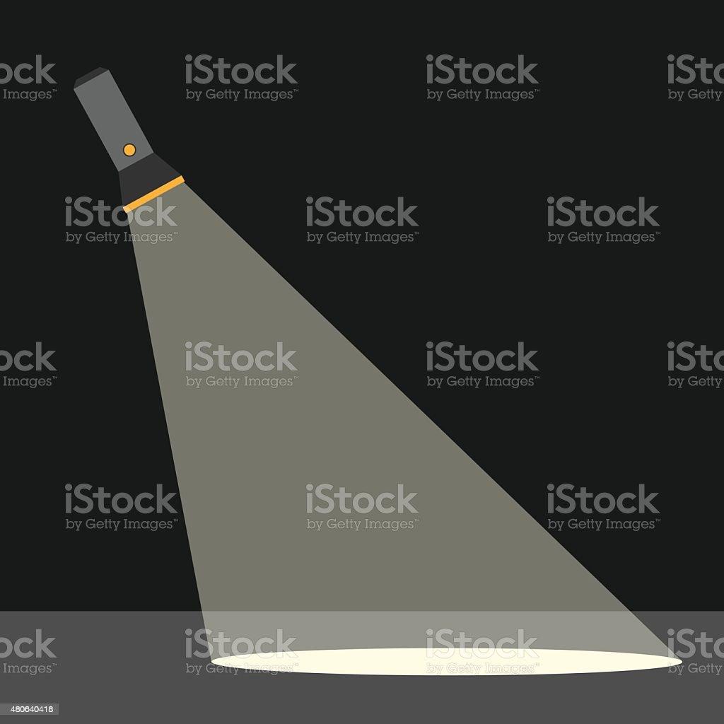 Flashlight illuminating ground vector art illustration