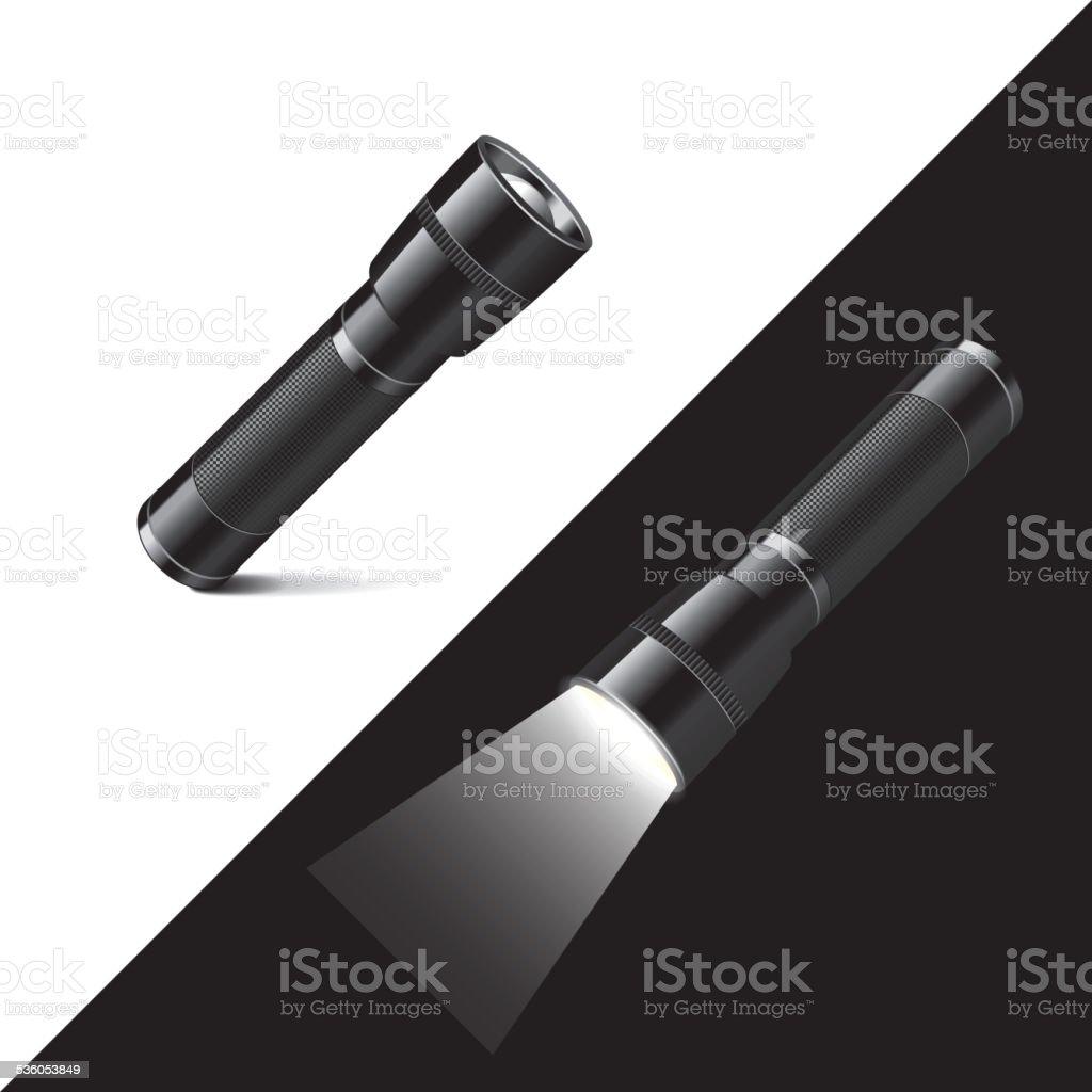 Flashlight isolated on white and black vector vector art illustration