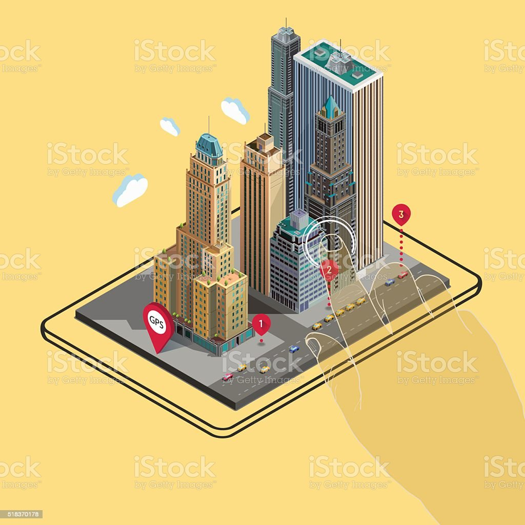 Flat 3d isometric buildings GPS navigation map on tablet vector art illustration