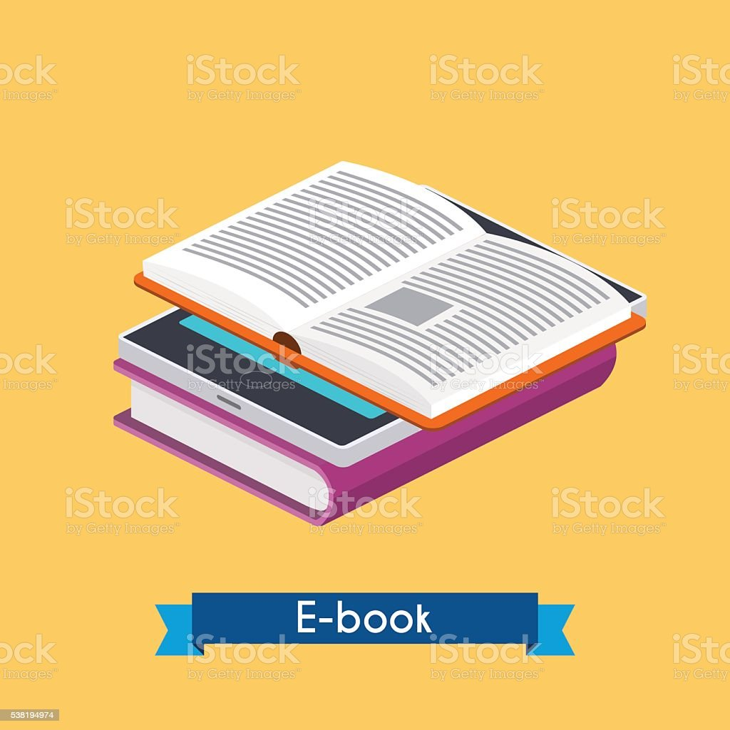Flat 3d isometric e-book reader and books. Online reading. E-lea vector art illustration