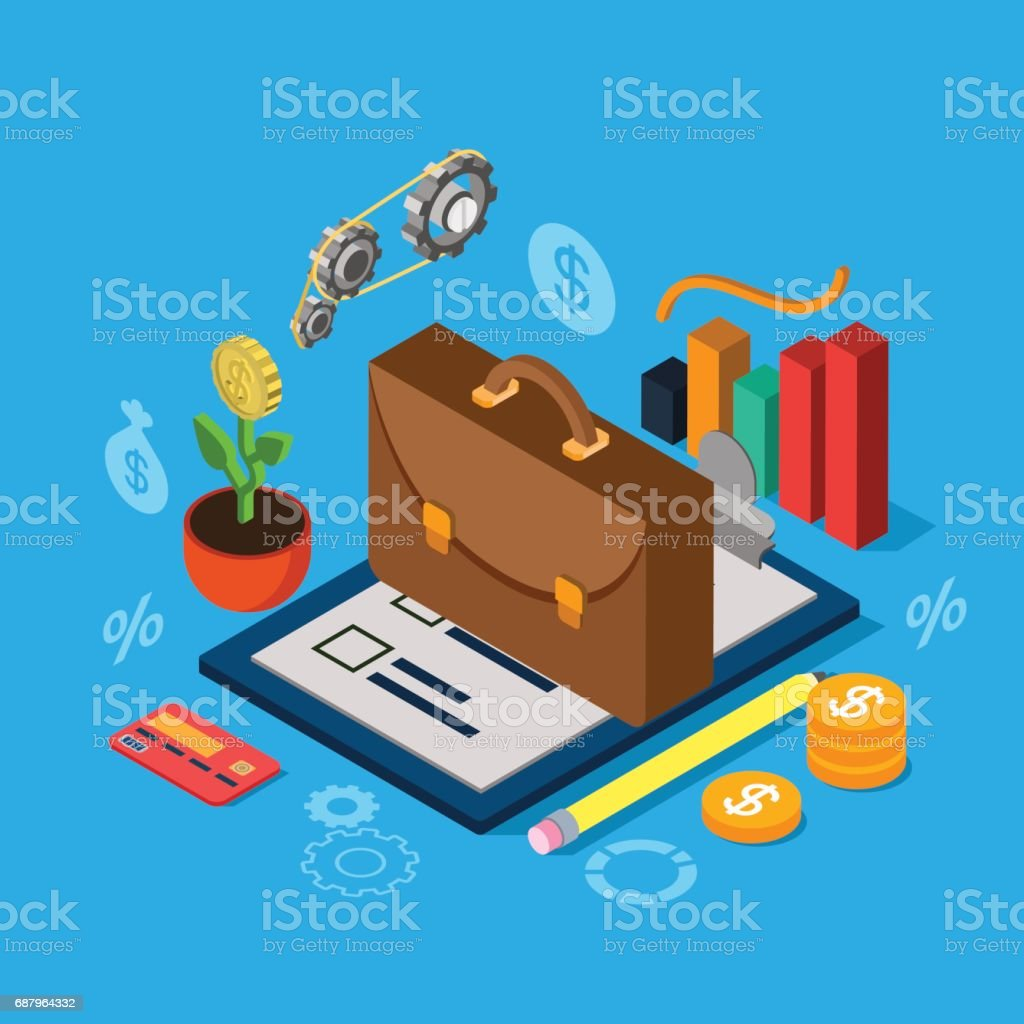 Flat 3d isometric equity stock exchange investment portfolio icon set concept web infographics vector illustration. Briefcase on checklist graphic credit card coin cogwheel mechanism plant. vector art illustration