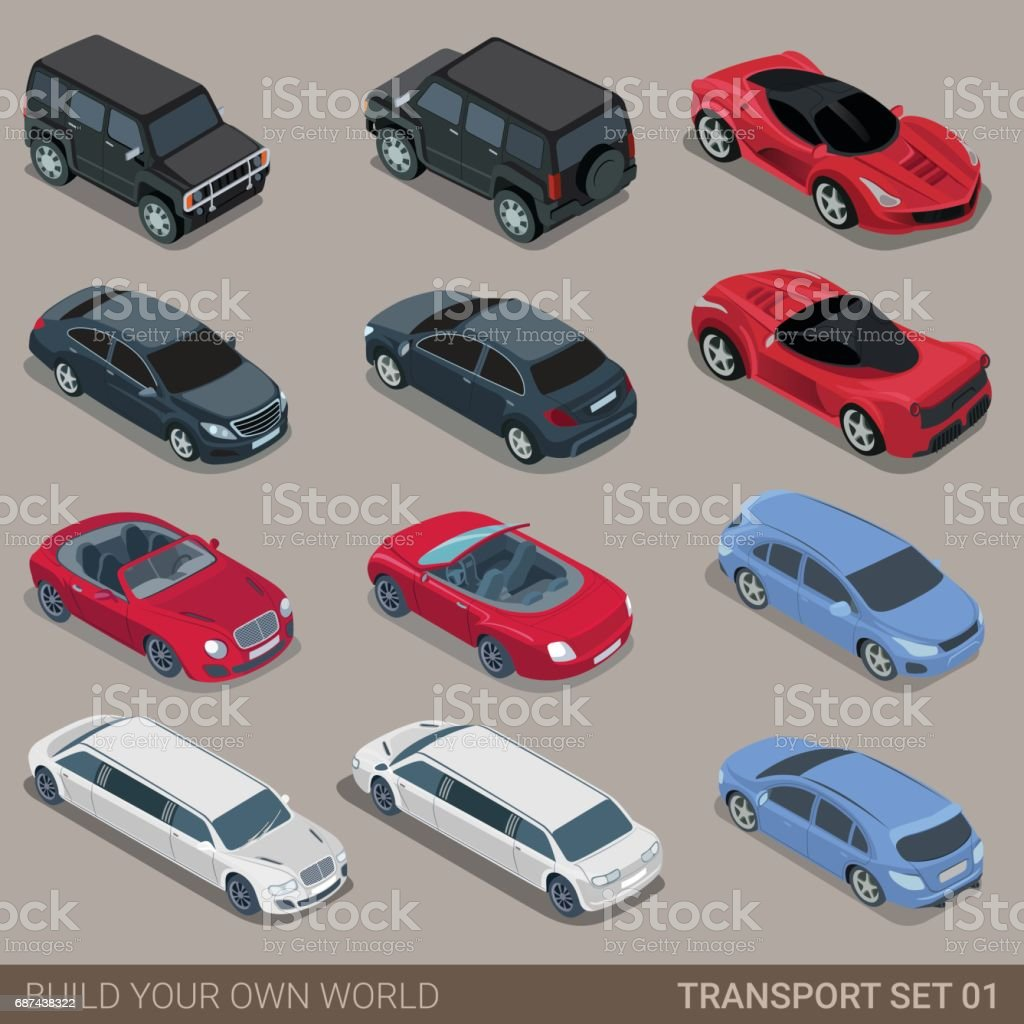Flat 3d isometric high quality city transport icon set. Car sportscar...