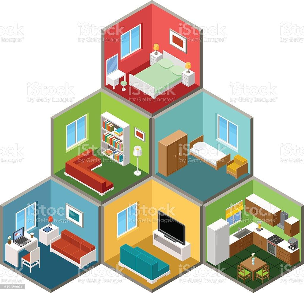 Flat 3d isometric house interior vector art illustration