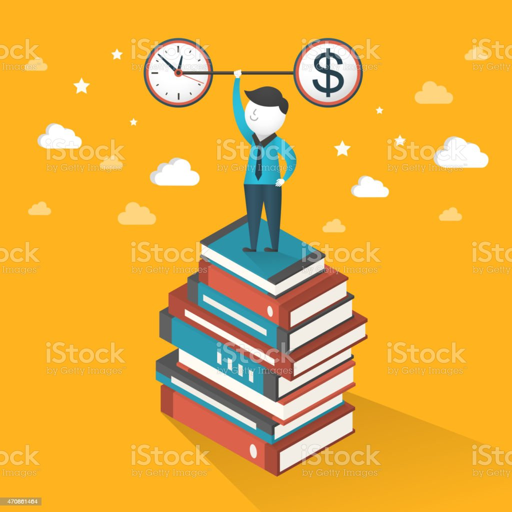 flat 3d isometric illustration concept of time and money vector art illustration