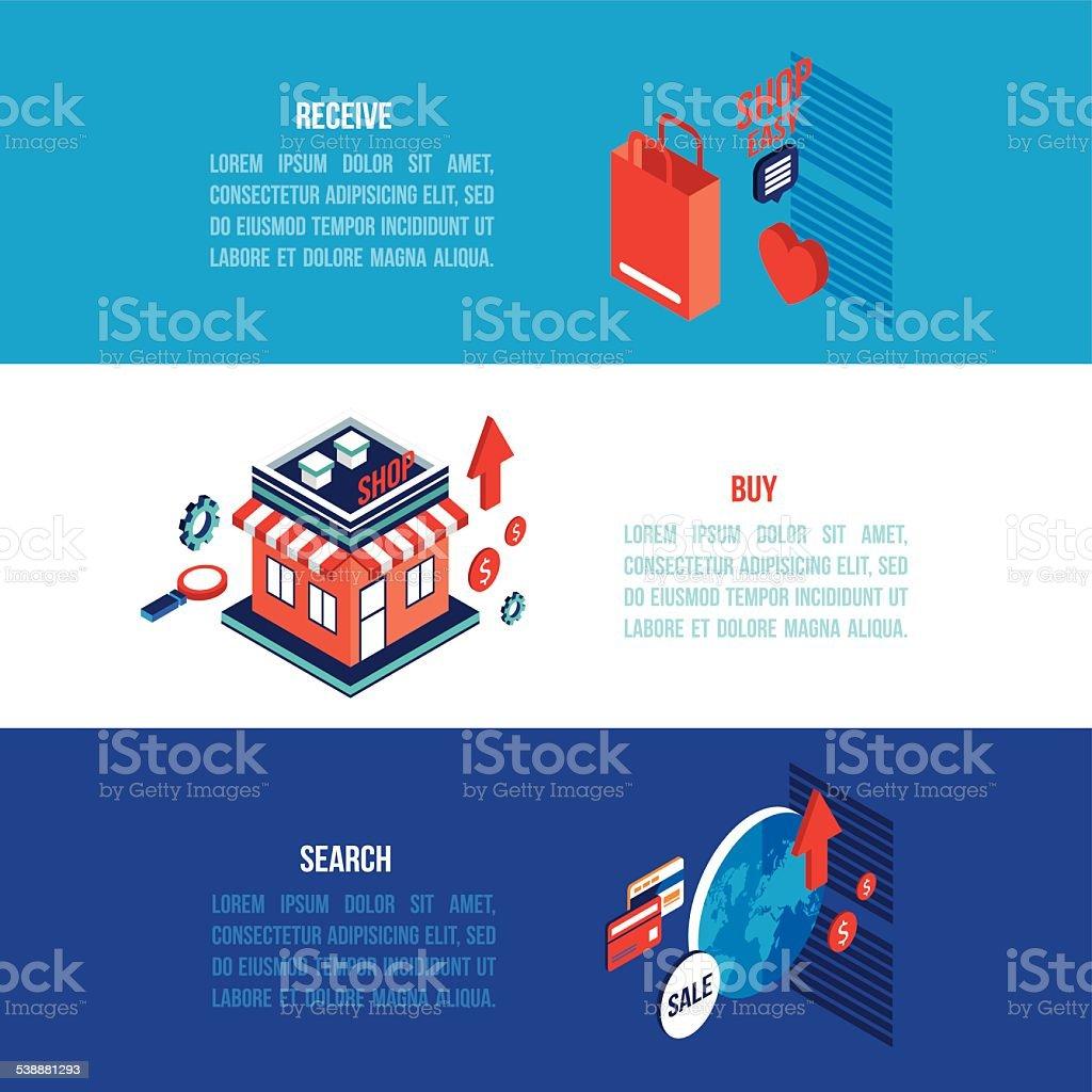 Banner design for e commerce - Flat 3d Isometric Modern Design Online Shopping E Commerce Banner Set Royalty Free Stock