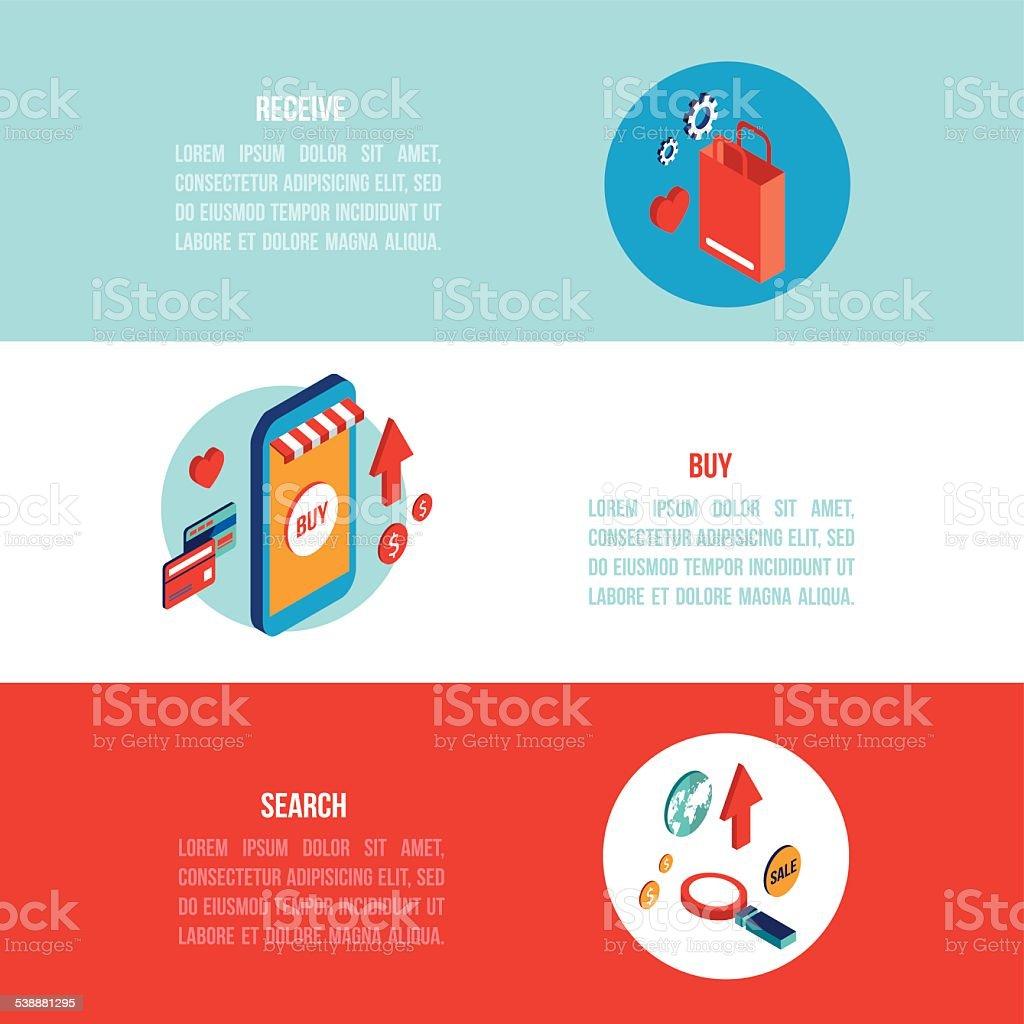 Banner design for e commerce - Flat 3d Isometric Modern Design Online Shopping E Commerce Banner Set