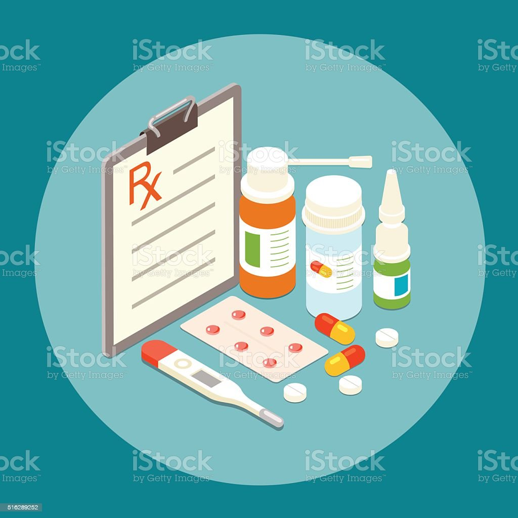 Flat 3d isometric Pills and bottles set. Vector flat illustration vector art illustration