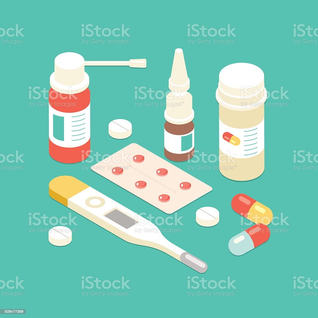 Flat 3d isometric Pills and bottles set. vector illustration. vector art illustration