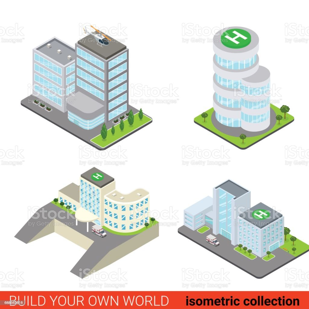 Flat 3d isometric set of business office center block building glass skyscraper hospital ambulance helipad roof top block infographic concept. Build your own infographics world collection. vector art illustration