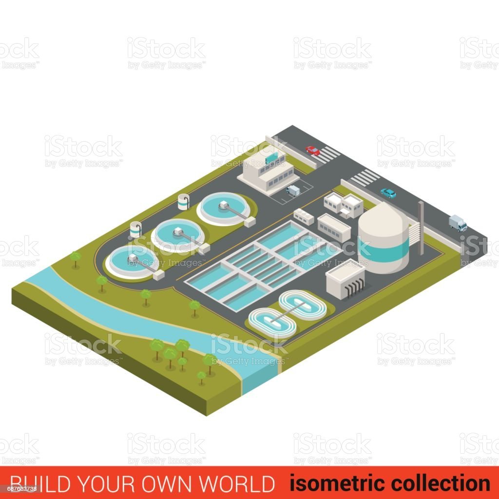 Flat 3d isometric wastewater treatment plant building block infographic concept. City industrial waste water sewerage sewage sump sinker. Build your own infographics world collection. vector art illustration
