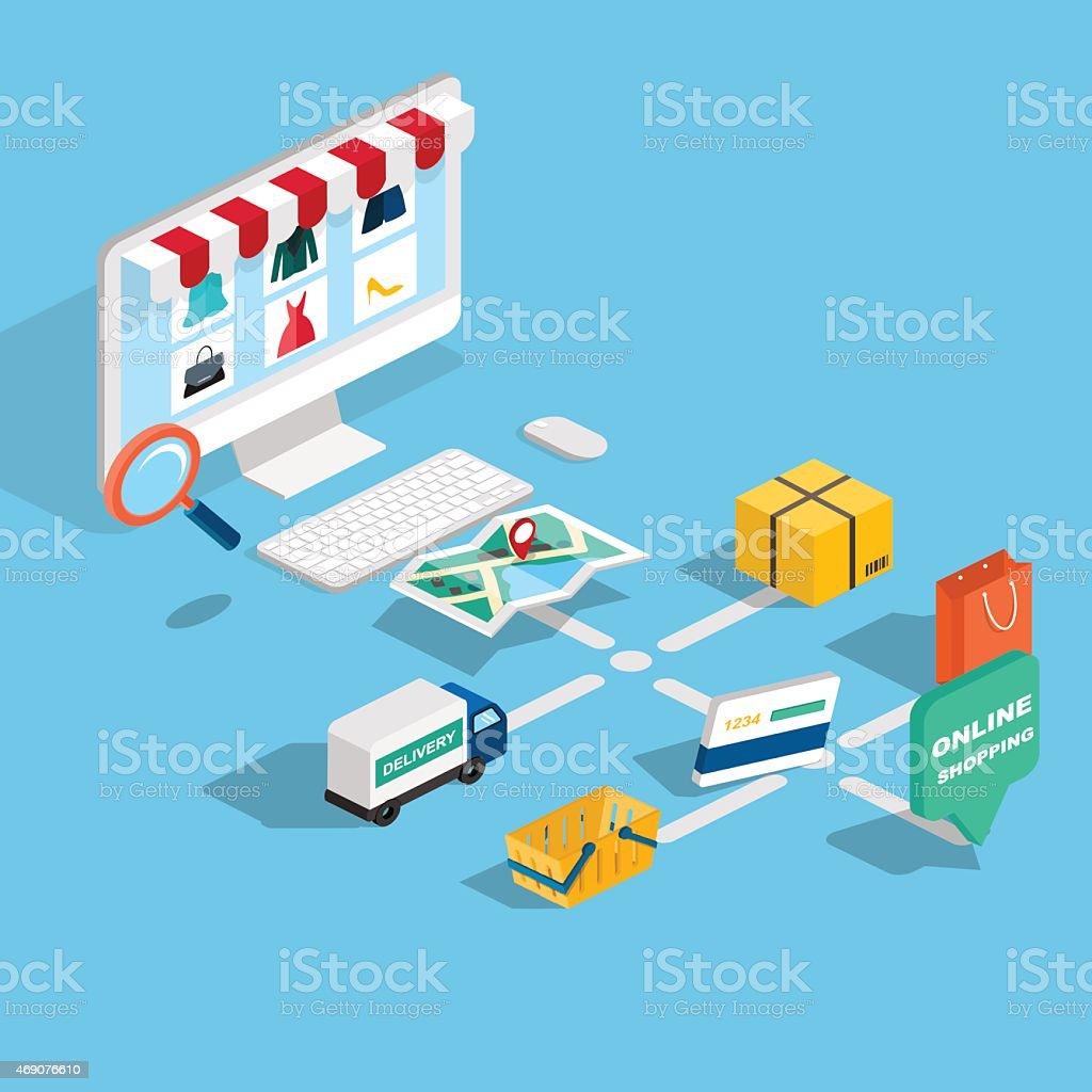 Flat 3d web isometric e-commerce, electronic business, online sh vector art illustration