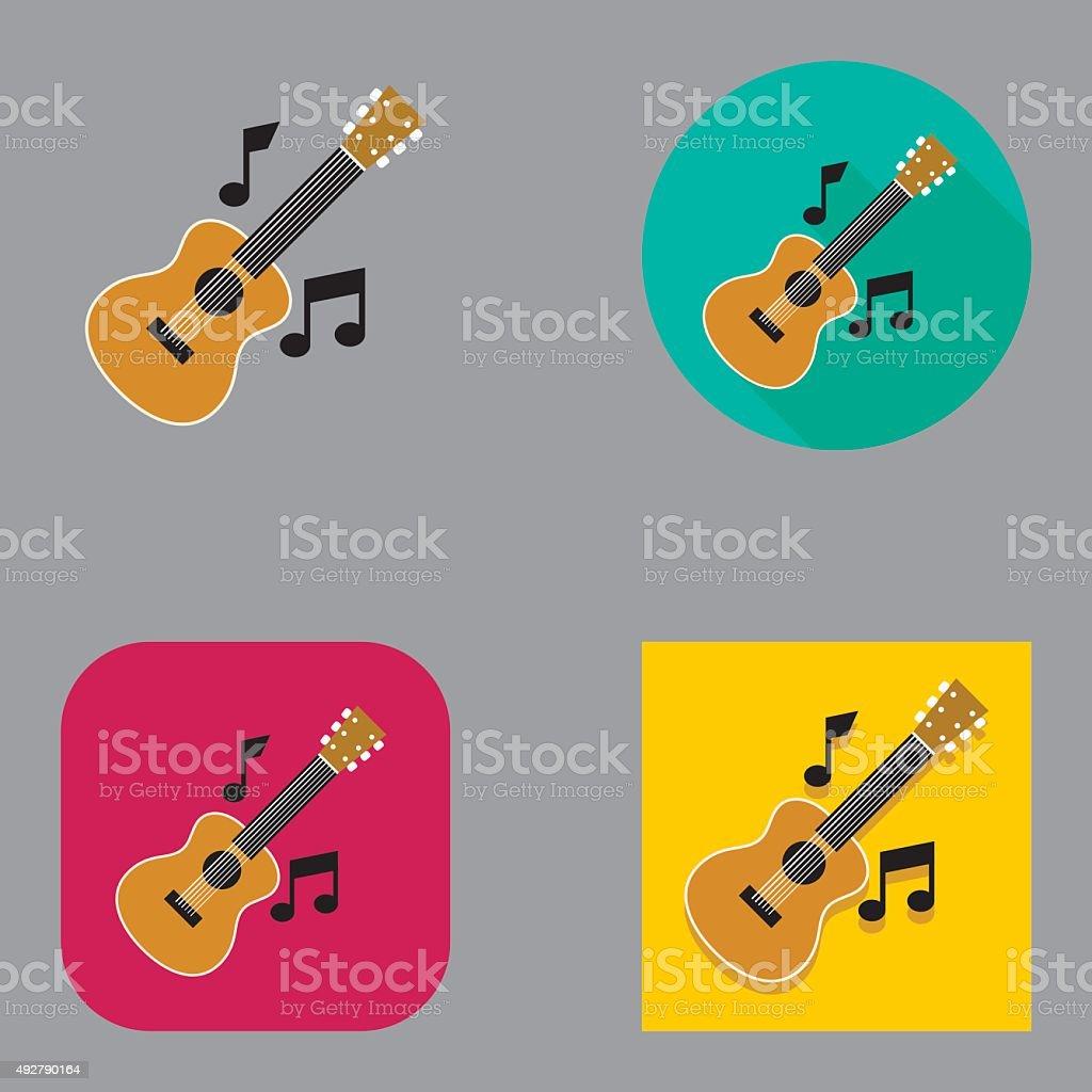 Flat Acoustic Guitar Music icon | Kalaful series vector art illustration