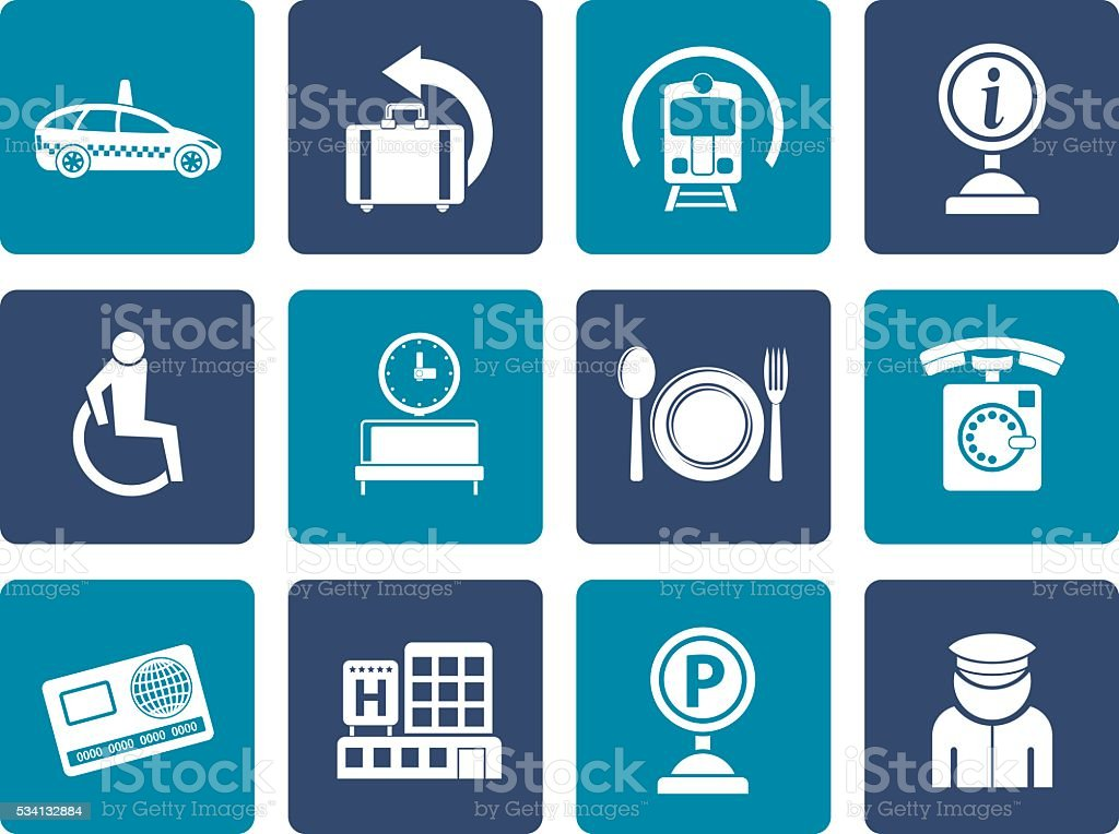 Flat airport, travel and transportation icons 2 vector art illustration