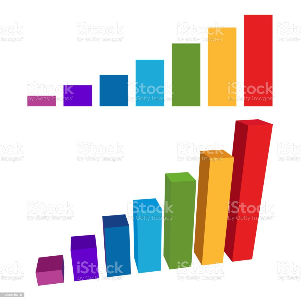 Flat and 3D Chart Color Diagram. Vector royalty-free stock vector art