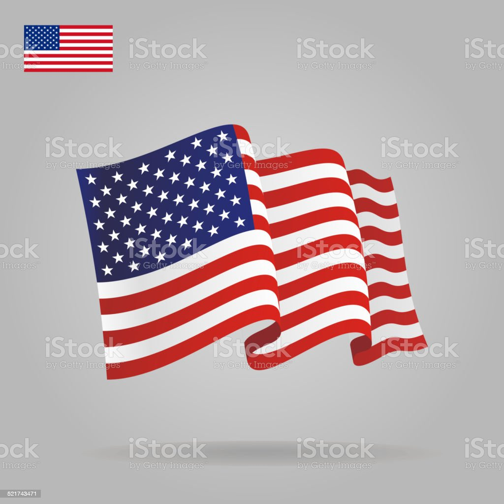 Flat and waving American Flag. vector art illustration