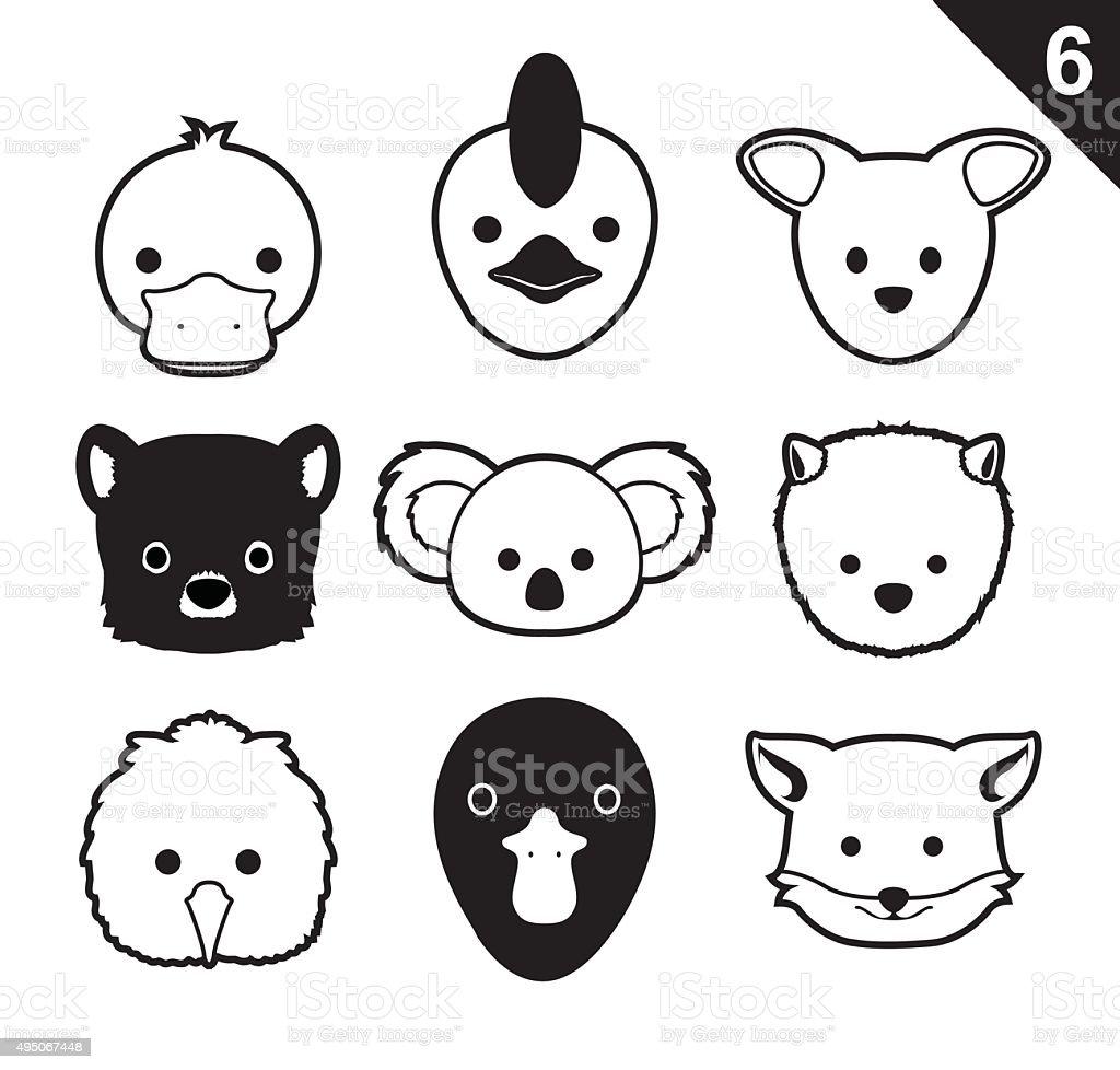 Flat Animal Faces Monochrome Icon Cartoon Vector Set 6 (Australia) vector art illustration