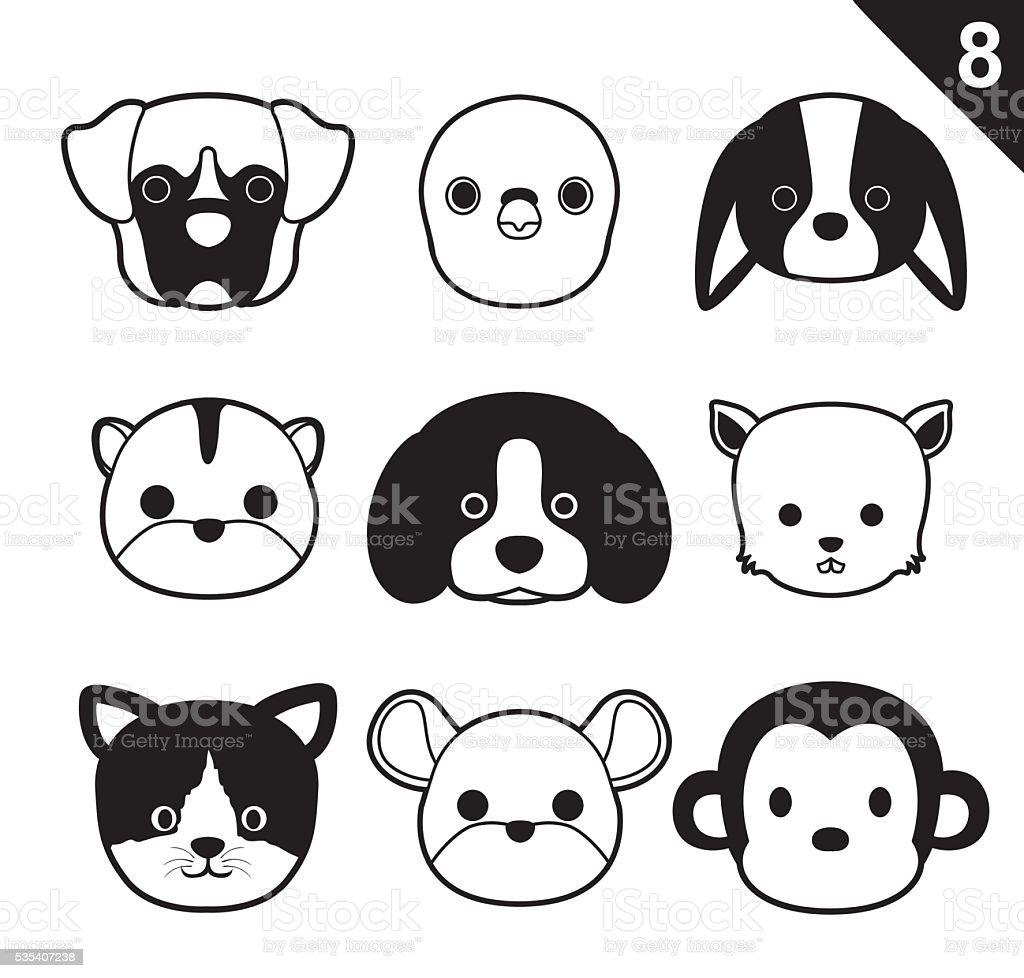 Flat Animal Faces Monochrome Icon Cartoon Vector Set 8 (Pet) vector art illustration