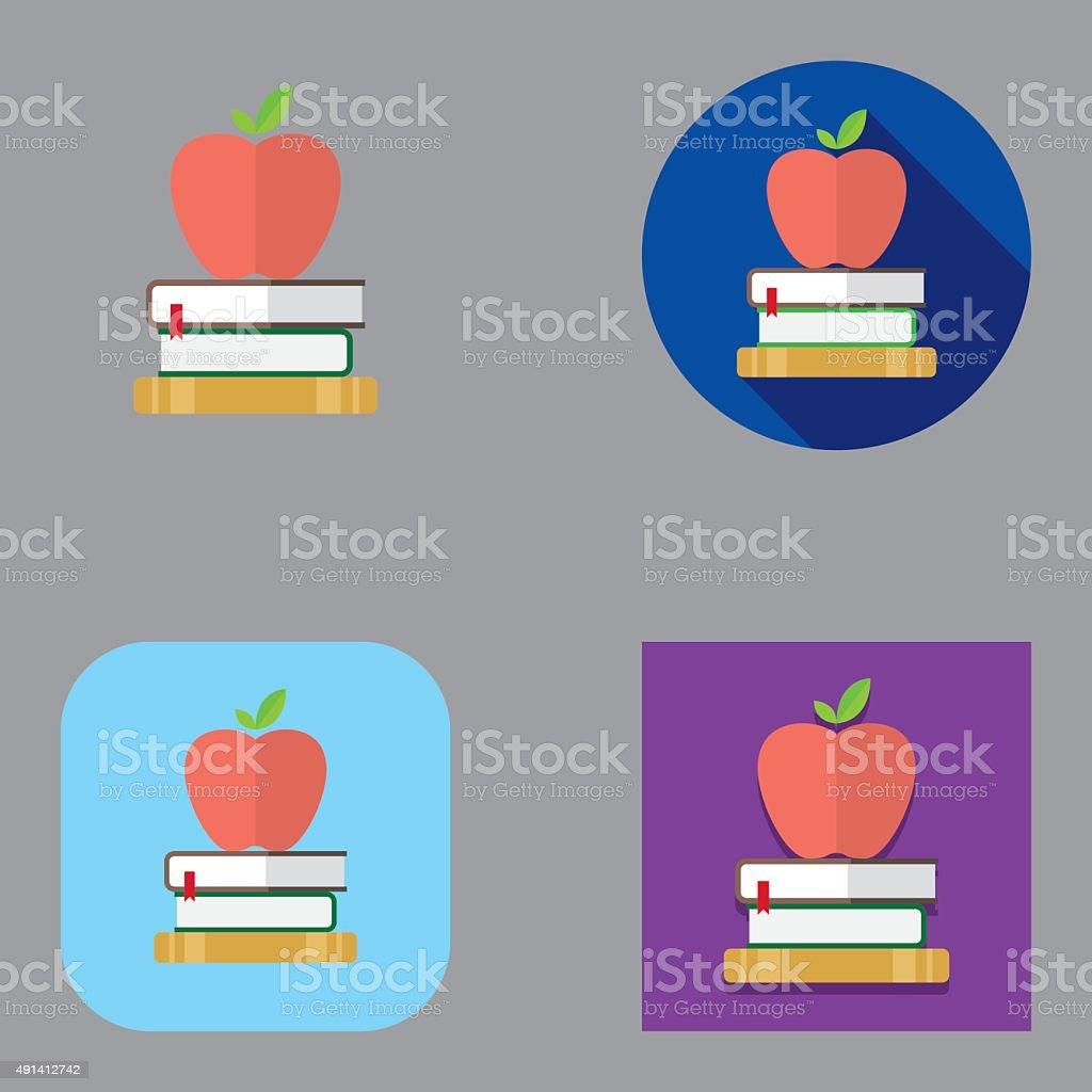 Flat Apple and Books icons   Kalaful series vector art illustration