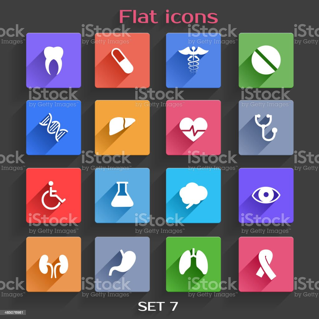 Flat Application Icons Set 7 vector art illustration