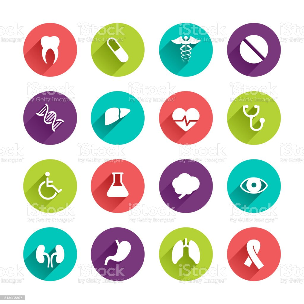 Flat Application Icons Set vector art illustration