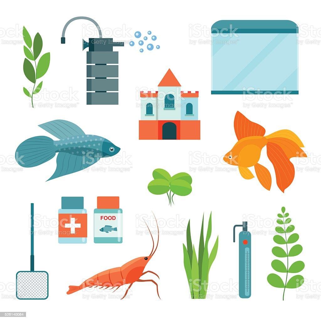 Flat aquarium set. Vector illustration vector art illustration