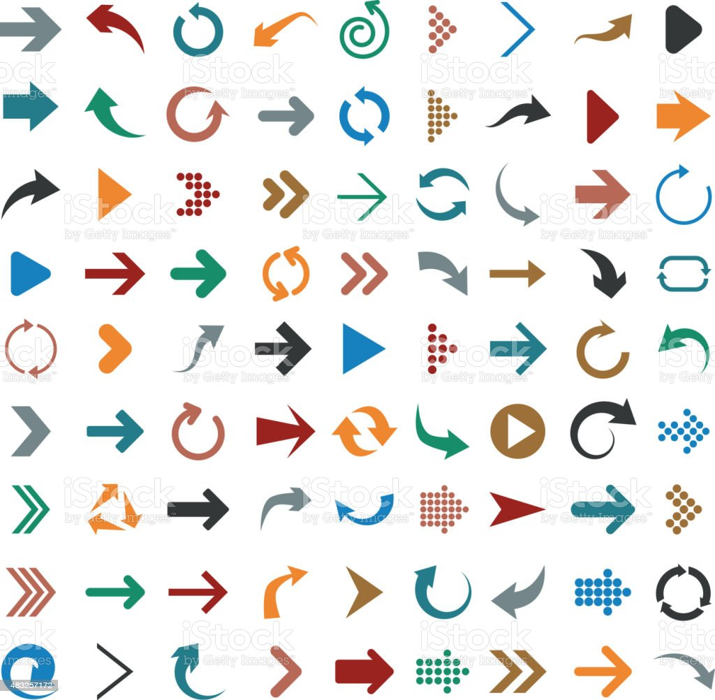 Flat arrow icons royalty-free stock vector art