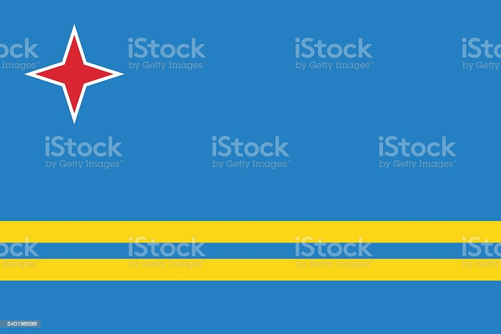 Flat Aruba flag vector vector art illustration