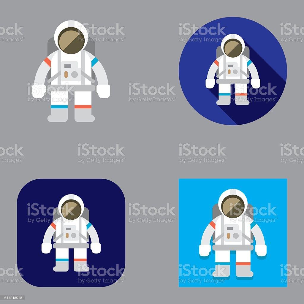 Flat Astronaut icons | Kalaful series vector art illustration
