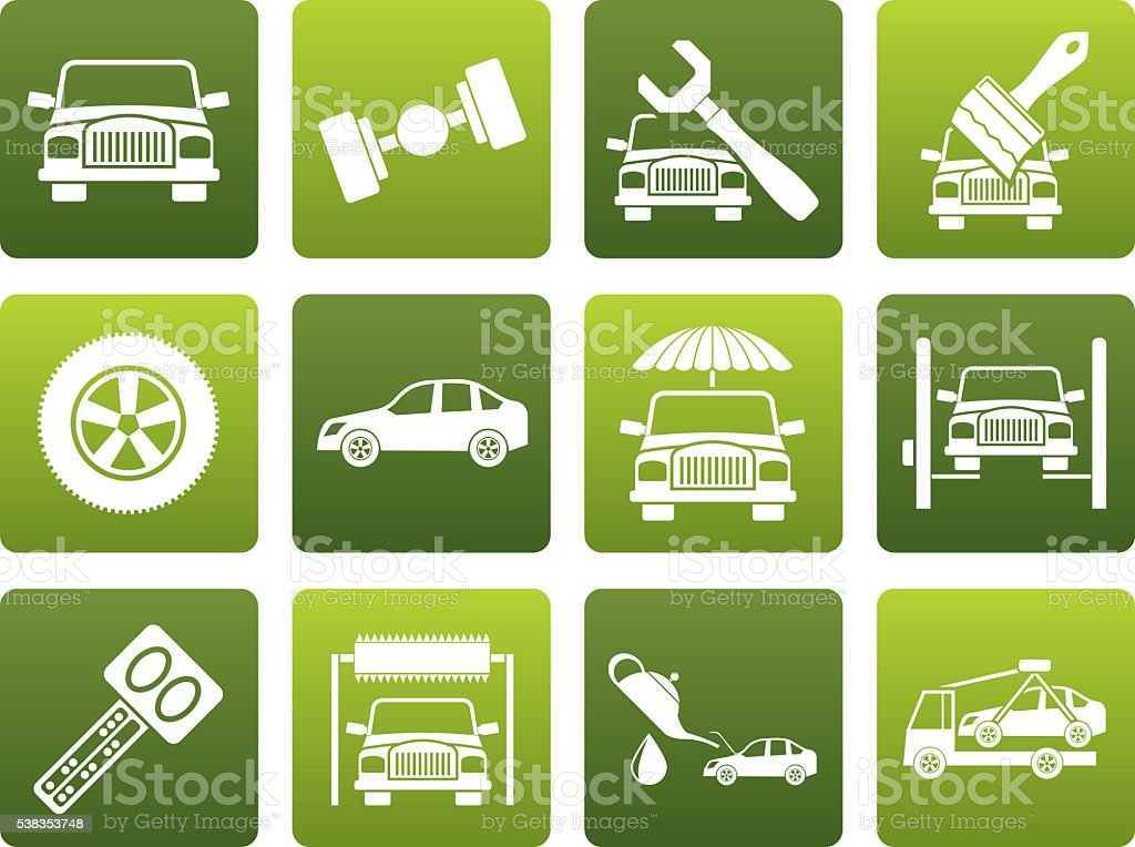 Flat auto service and transportation icons vector art illustration