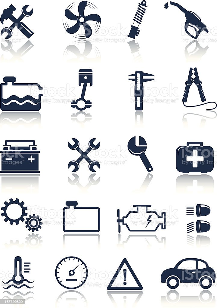 Flat auto service icons on a white background vector art illustration