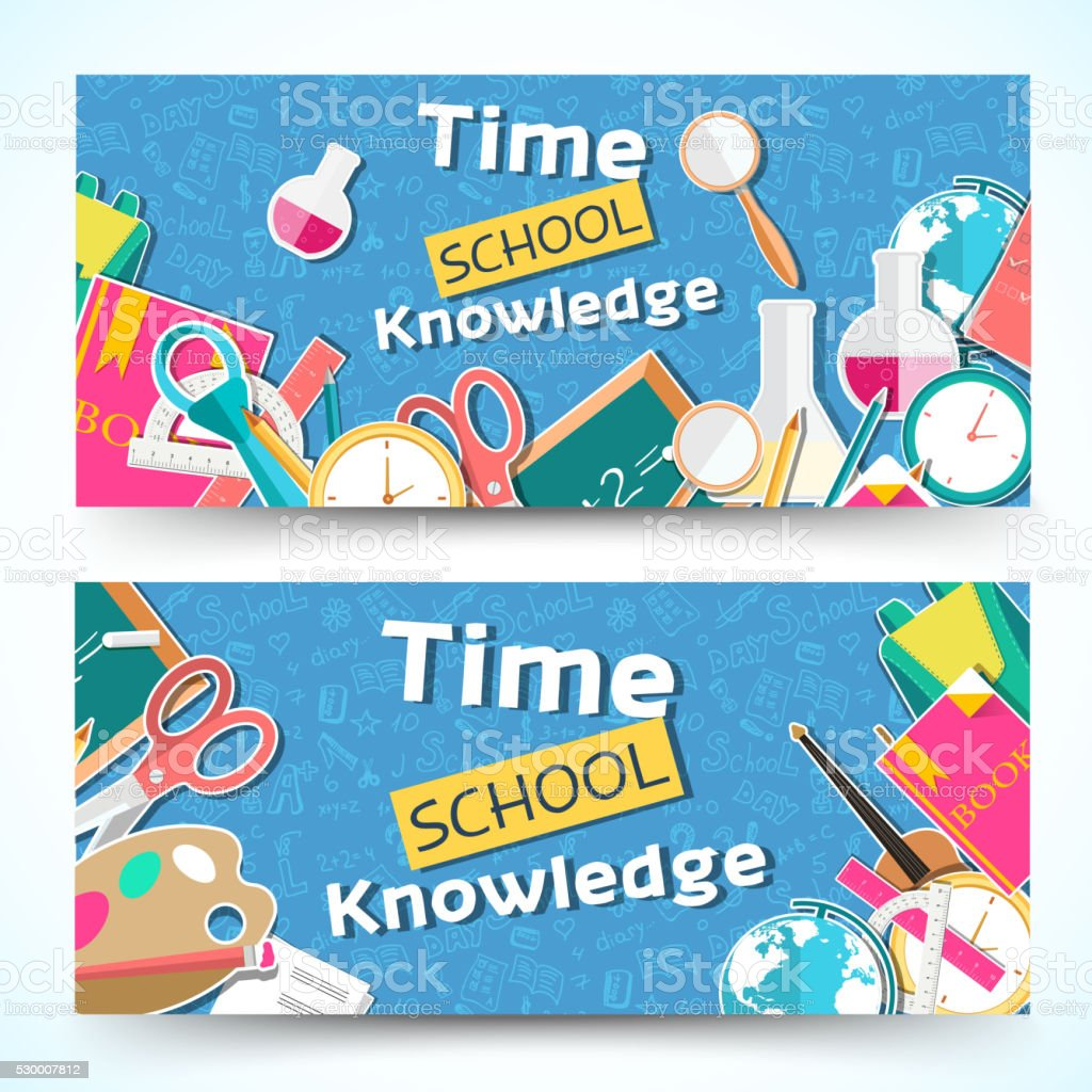 flat back to school horizontal banners concept. Vector illustration design vector art illustration