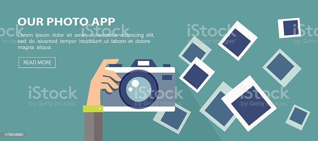 Flat banner. Illustration of hand holding camera with frames. vector art illustration