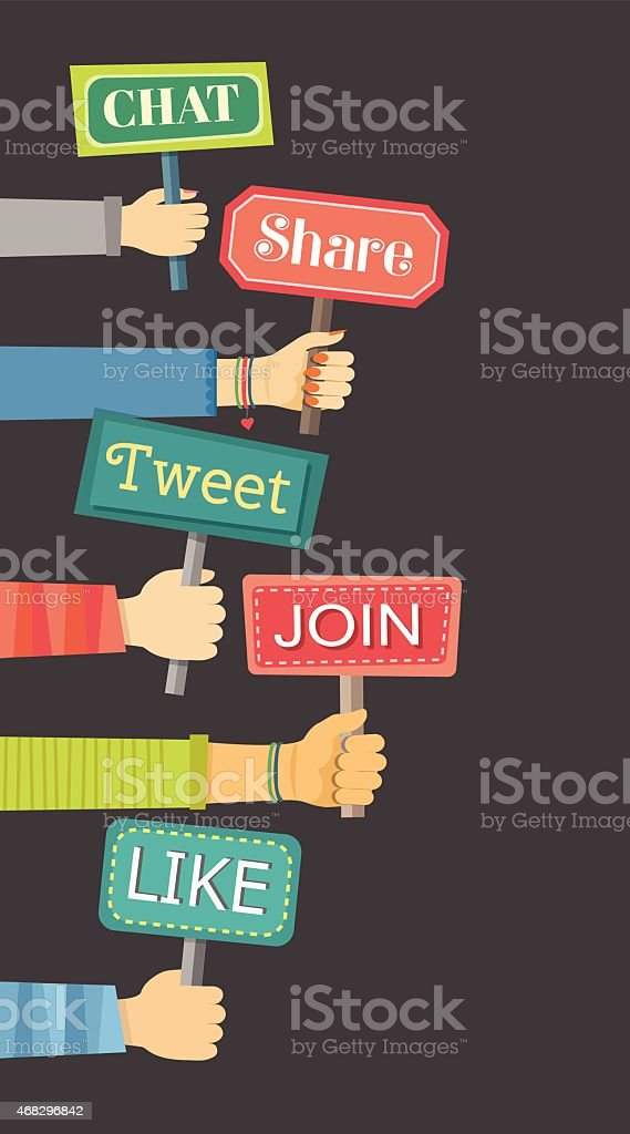 Flat banner of hands holding signs with social activities vector art illustration