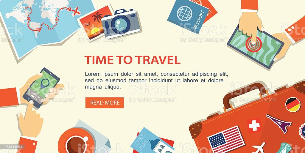 Flat banner of travel planning. Desktop with obiects and hands. vector art illustration