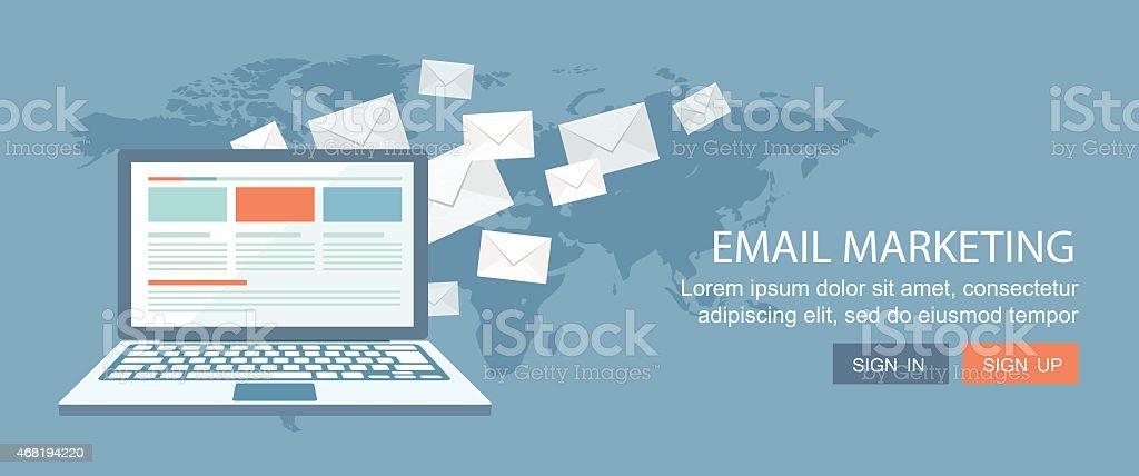 Flat banner.E-mail marketing illustration. vector art illustration