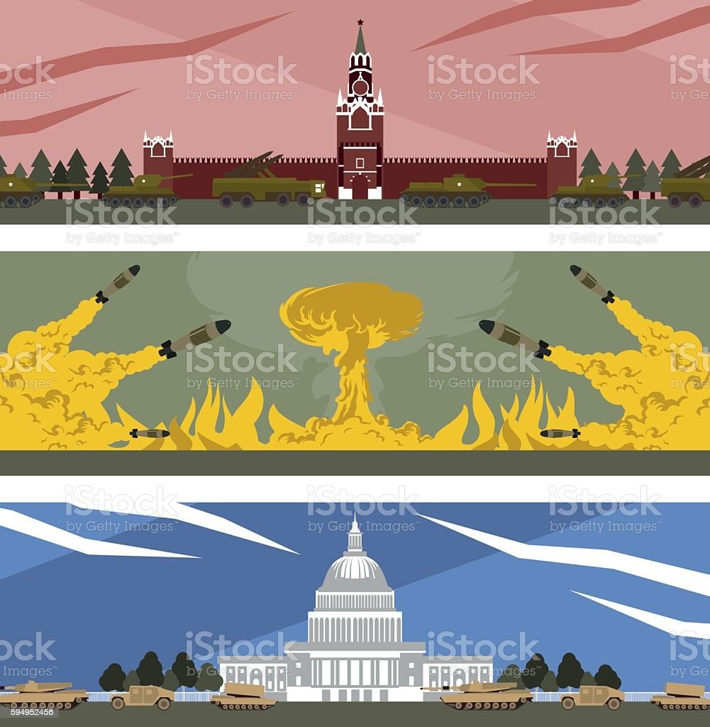 flat banners cold war vector art illustration