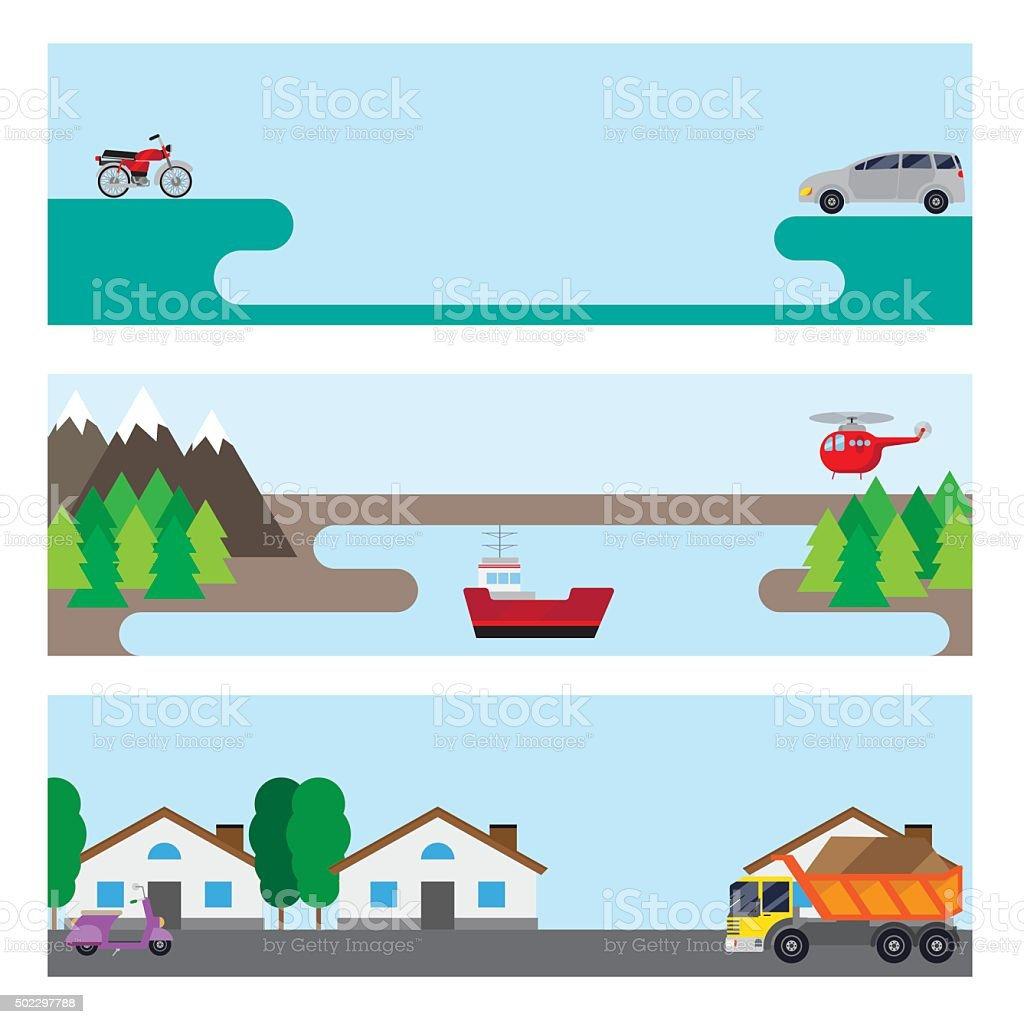 Flat banners with cars. vector art illustration