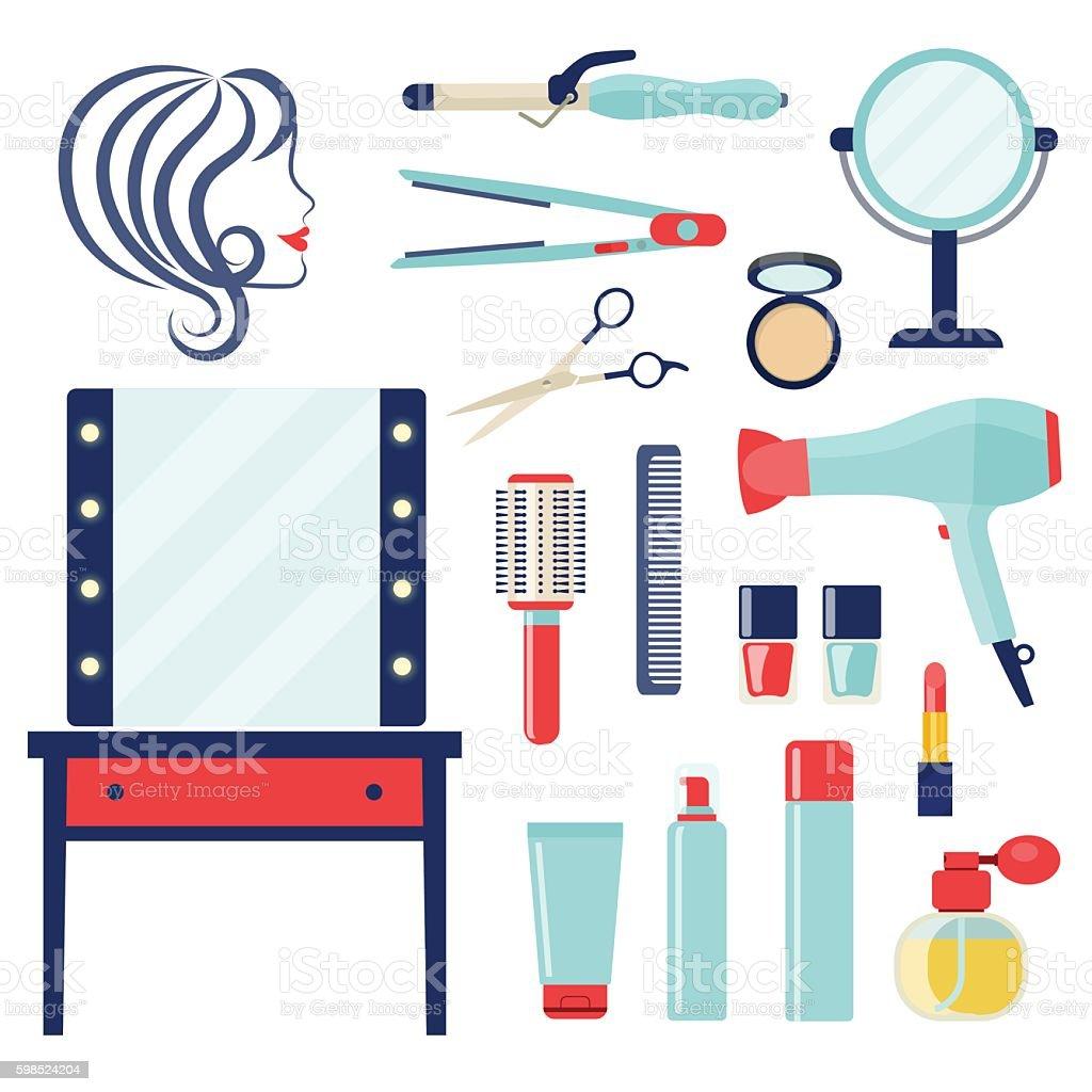 Flat barber and hairdresser related. Vector illustration vector art illustration