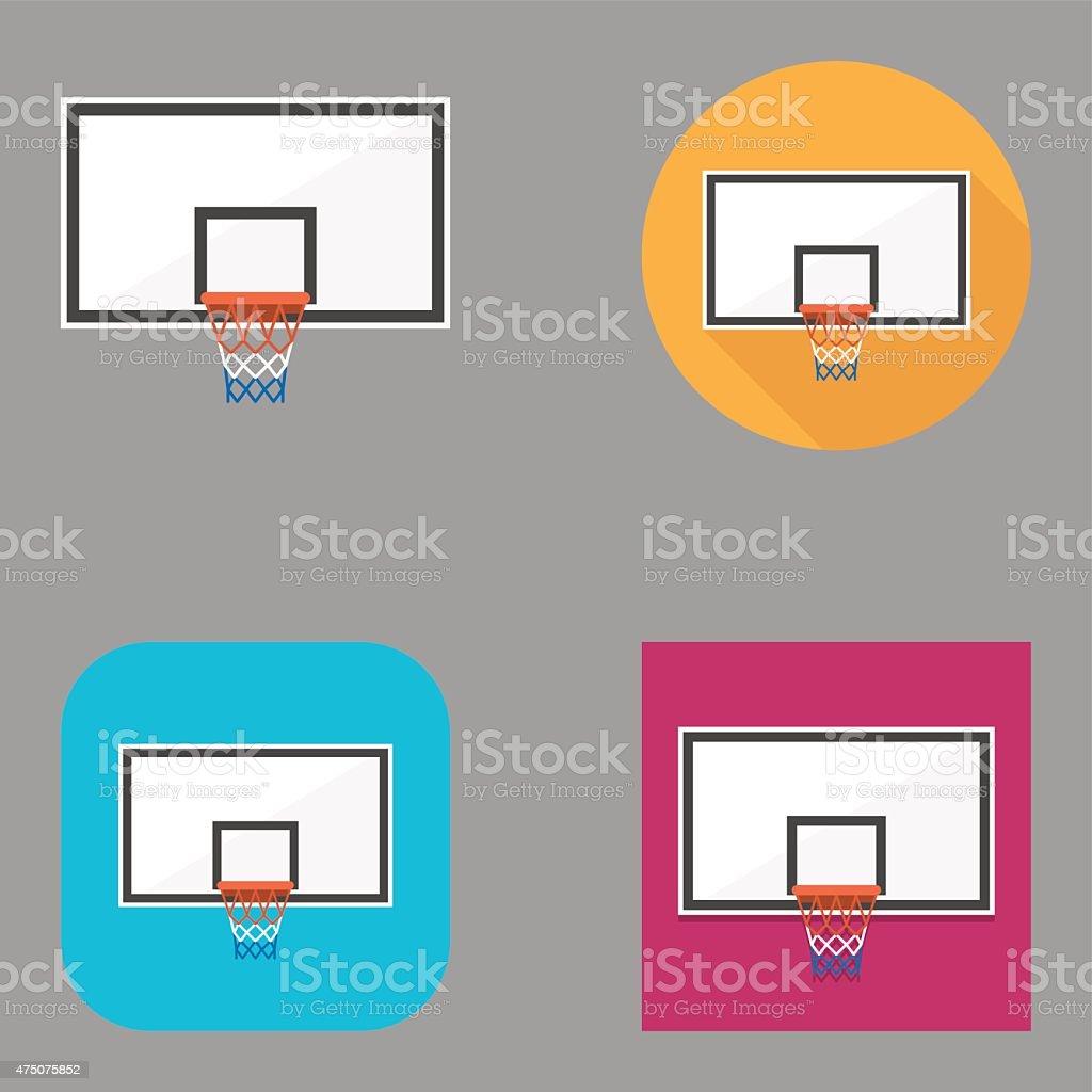 Flat Basketball Backboard icons | Kalaful series vector art illustration