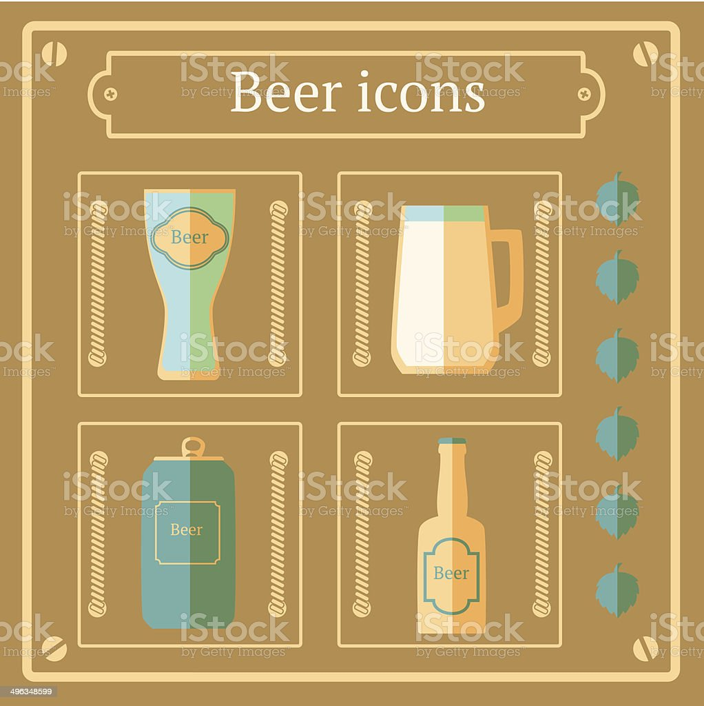 Flat beer icons, vector background vector art illustration
