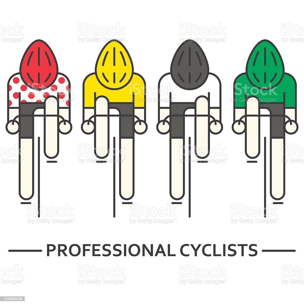 Flat bicyclists in yellow, green, vector art illustration