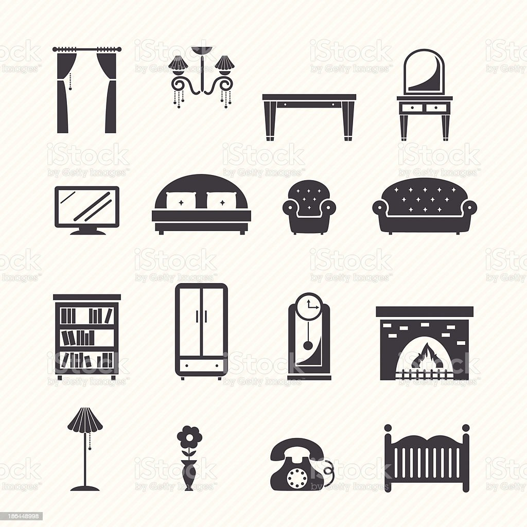 Flat black furniture icons set vector art illustration