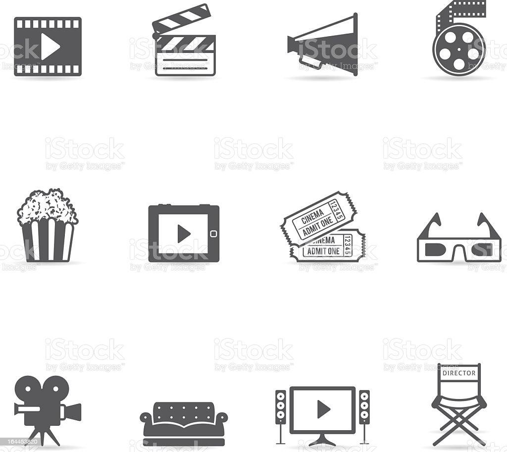 Flat black icons suitable for movies vector art illustration