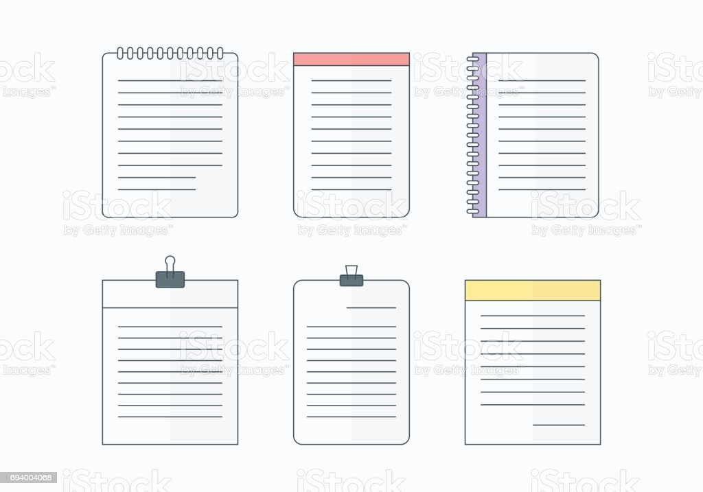 Flat blank paper template collection vector art illustration