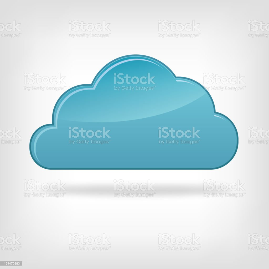 Flat blue cloud icon casting shadow royalty-free stock vector art