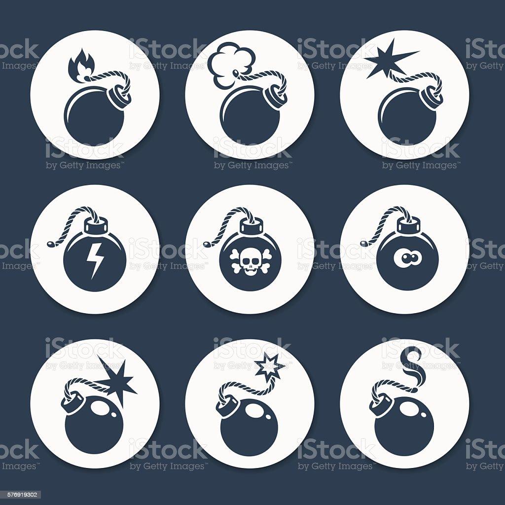 Flat bombs icons set vector art illustration