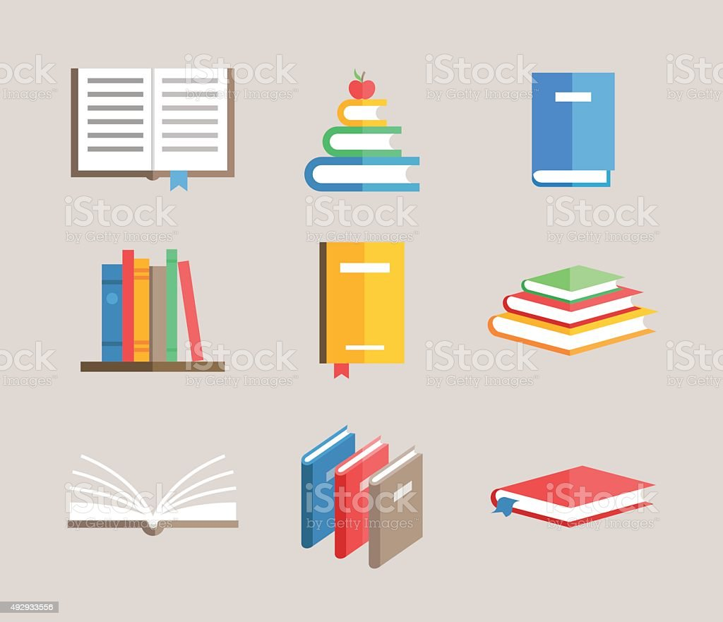 flat book symbols vector set vector art illustration