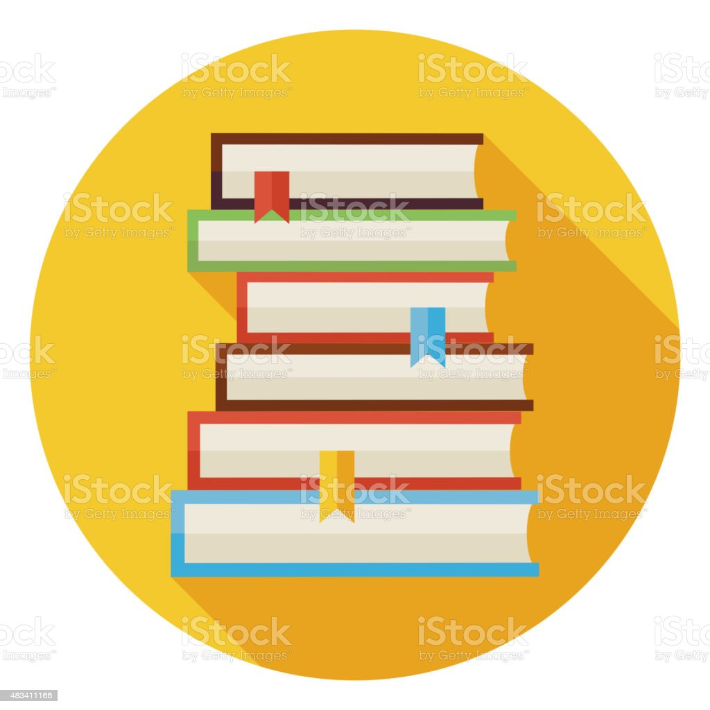 Flat Books with Bookmarks Circle Icon with Long Shadow vector art illustration